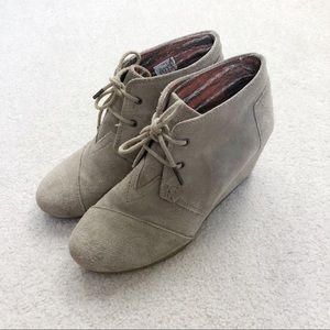 TOMS taupe suede storm wedge booties